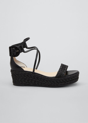 Christian Louboutin Bodrum Woven Leather Ankle-Tie Espadrille Sandals