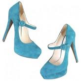 Prada Turquoise Suede Heels