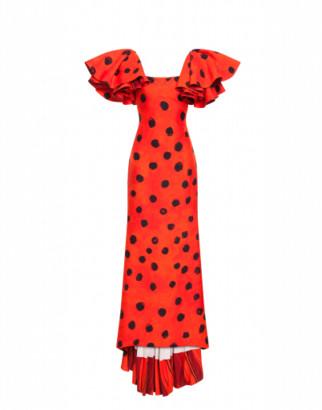 Moschino Long Dress Polka Dots Woman Red Size 42 It - (8 Us)