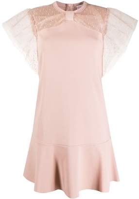 RED Valentino point d'esprit embellished pleated dress
