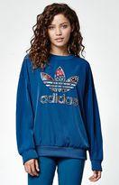 adidas Trefoil Fill Crepe Crew Neck Sweatshirt