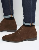 Asos Chukka Boots In Brown Faux Suede
