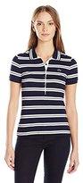 Lacoste Women's Short Sleeve Striped Slim Fit Polo