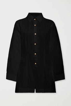 Anémone The Lauren Cotton And Linen-blend Playsuit - Black