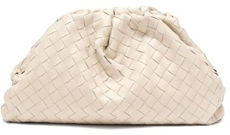 Bottega Veneta The Pouch Large Intrecciato Leather Clutch Bag - White