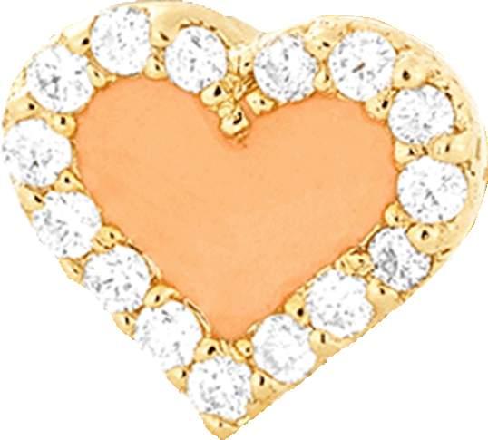 Alison Lou Coral Enamel And Diamond Heart Stud