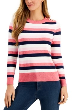 Charter Club Petite Striped Button-Detail Sweater, Created for Macy's