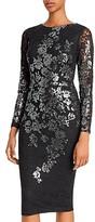 Avery G Metallic Lace Sheath Dress