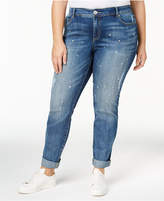 INC International Concepts Plus Size Studded Distressed Boyfriend Jeans, Created for Macy's