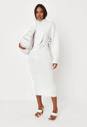 Missguided Recycled White Seam Front Turtle Neck Knit Sweater