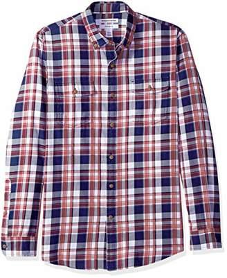 Amazon Essentials Men's Slim-Fit Long-Sleeve Two-Pocket Twill Shirt,Small