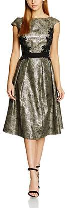 Little Mistress Women's Metallic and Lace Detail Dress Skater Short Sleeve Dress,8