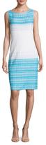 St. John Fading Stripe Faux Sheer Sheath Dress