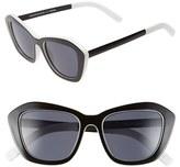 Le Specs Women's 'Hollywood Blvd.' 52Mm Cat Eye Sunglasses - Black/ White