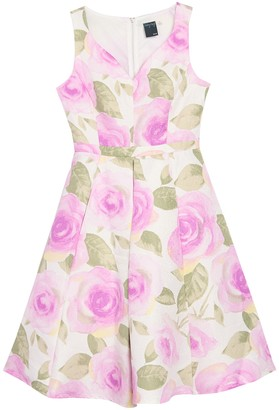 Gabby Skye Floral Print Sweetheart Dress