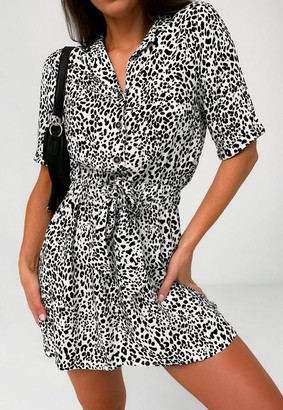Missguided Tall White Dalmatian Print Tie Waist Shirt Dress