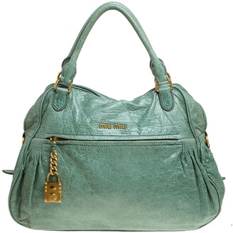 Miu Miu Mint Green Leather Lily Distressed Satchel