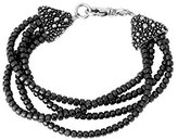 King Baby Studio Women's 925 Sterling Silver Multi Strands Hematite Beads Stingray Cone Clasp Bracelet of Length 19.05cm