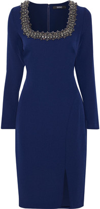 Badgley Mischka Embellished Stretch-crepe Dress