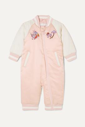 Stella Mccartney Kids Embroidered Two-tone Satin Onesie - Pink