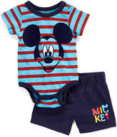 Children's Apparel Network Mickey Mouse Blue Stripe Bodysuit & Navy Shorts - Infant