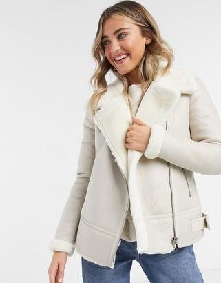 New Look coated aviator coat in cream