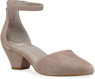 Eileen Fisher Just Suede Low Facet-Heel Pumps