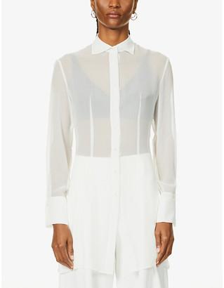 Longline sheer silk-chiffon shirt