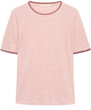 Rag & Bone Molly Crochet-trimmed Slub Linen-jersey T-shirt
