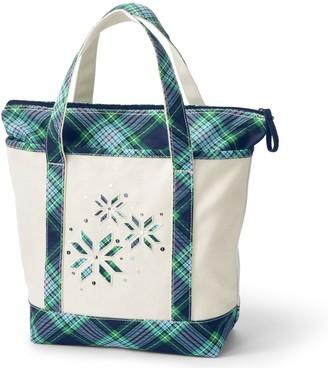 Lands' End Medium Christmas Zipper Canvas Tote Bag