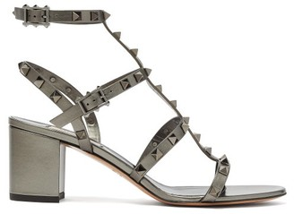 Valentino Rockstud Block-heel Leather Sandals - Womens - Grey