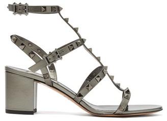 Valentino Rockstud Block-heel Leather Sandals - Womens - Grey