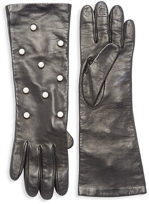 Carolyn Rowan Scattered Faux-Pearl Long Leather Gloves