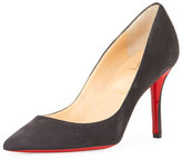 Christian Louboutin Apostrophy Suede 85mm Red Sole Pump, Fusian Gray