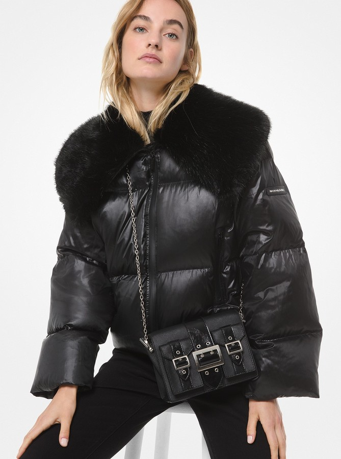 MICHAEL Michael Kors Faux Fur-Trimmed Cire Cropped Puffer Jacket