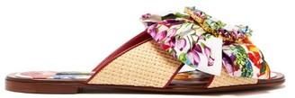 Dolce & Gabbana Crystal-buckle Floral-print Satin & Raffia Slides - Pink Multi