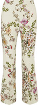 Giambattista Valli Cropped Satin-trimmed Printed Crepe Flared Pants - Cream