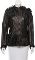 Valentino Ruffle-Accented Leather Jacket w/ Tags