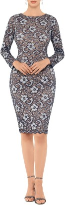 Xscape Evenings Two-Tone Floral Lace Long Sleeve Cocktail Dress