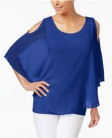 Charter Club Butterfly-Sleeve Cold-Shoulder Top, Created for Macy's