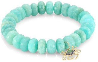 Sydney Evan 14K Yellow Gold, Blue Diamond, Sapphire, Emerald & Amazonite Large Crab Beaded Bracelet