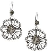 Azaara Vintage by Black Diamond, Swarovski Crystal, Silverplated, Silver & Copper Single Flower Drop Earrings