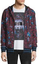 Just Cavalli Multi Leopard-Print Zip-Up Hoodie, Red