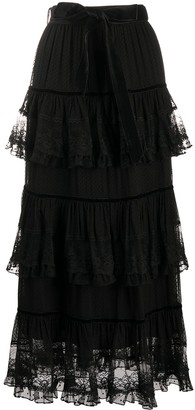 Zimmermann Glassy Frilled Lace Midi Skirt