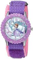 Disney Girl's 'Princess Sofia' Quartz Stainless Steel and Nylon Casual Watch, Color:Purple (Model: WDS000271)