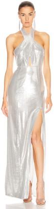 Galvan Galaxy Flyover Dress in Silver | FWRD