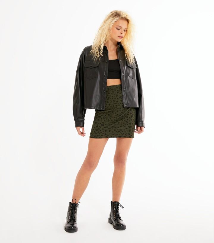 Thumbnail for your product : New Look Burgundy Jacquard Leopard Mini Tube Skirt