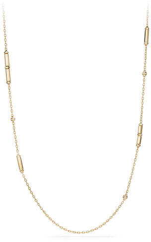 David Yurman 18K Gold Long Barrel Station Necklace with Diamonds, 36""