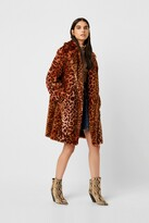 French Connection Analia Ombre Faux Fur Cheetah Coat