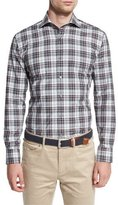 Peter Millar Après-Ski Windowpane Check Sport Shirt, Dolomite Gray